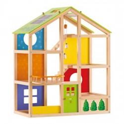 CASA 4 STAGIONI IN LEGNO casa delle bambole HAPE non arredata