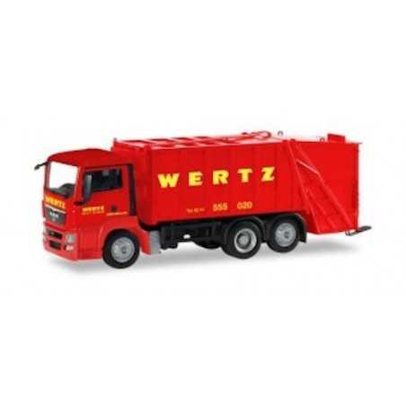 MAN TGS WERTZ ROSSO camion in plastica HERPA 309424 modellino SCALA 1:87 trucks