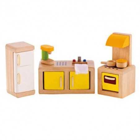 CUCINA DI FAMIGLIA in legno accessorio per casa delle bambole HAPE Happy Family