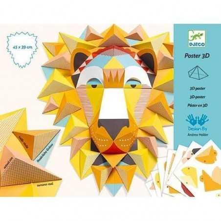 POSTER IN 3D the king IL LEONE in carta KIT ARTISTICO creativo DJECO da piegare DJ09447 età 8+