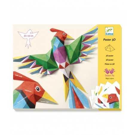 POSTER IN 3D uccello AMAZZONIA in carta KIT ARTISTICO creativo DJECO da piegare DJ09448 età 8+