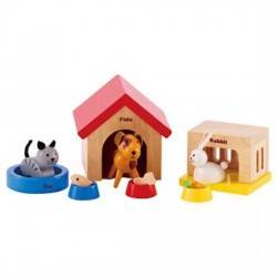 ANIMALI DOMESTICI in legno accessorio per casa delle bambole HAPE Happy Family