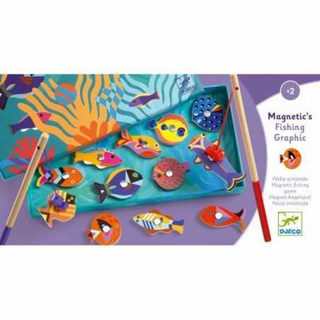 PESCA MAGNETICA gioco per i più piccoli GRAPHIC in legno DJECO classico DJ01658 età 2+
