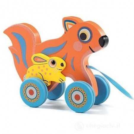 MAX & OLA gioco in legno SCOIATTOLO CONIGLIETTO animali da tirare DJECO trainare DJ06222 età 18 mesi +