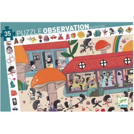 PUZZLE LA SCUOLA DEI RICCI scoperta OBSERVATION con poster 35 PEZZI in cartone DJECO DJ07595 età 3+