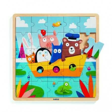 PUZZLE in legno 25 PEZZI incastro BARCA puzzlo boat DJECO gioco DJ01816 età 3+