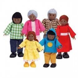 FAMIGLIA AFROAMERICANA in legno accessorio casa delle bambole HAPE Happy Family