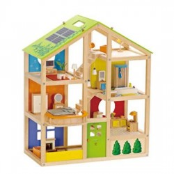 CASA 4 STAGIONI IN LEGNO casa delle bambole HAPE arredata completa ammobiliata