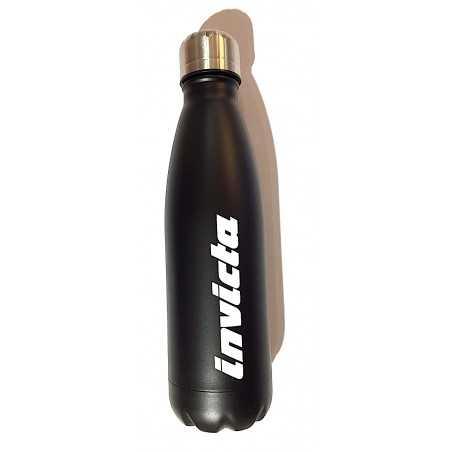 BORRACCIA in acciaio inox 304 INVICTA bottle TENUTA STAGNA 500 ml NERA TINTA UNITA caldo e freddo