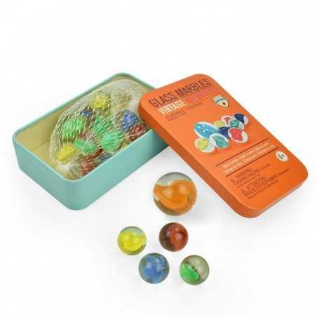 BIGLIE IN VETRO con scatola in latta LEGAMI glass marbles VINTAGE MEMORIES set di 20 + 1 GIGANTE età 6+