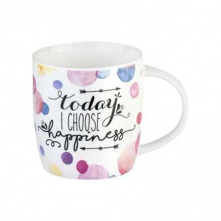 TAZZA mug TODAY I CHOOSE HAPPINESS porcellana 0.35L bone china LEGAMI