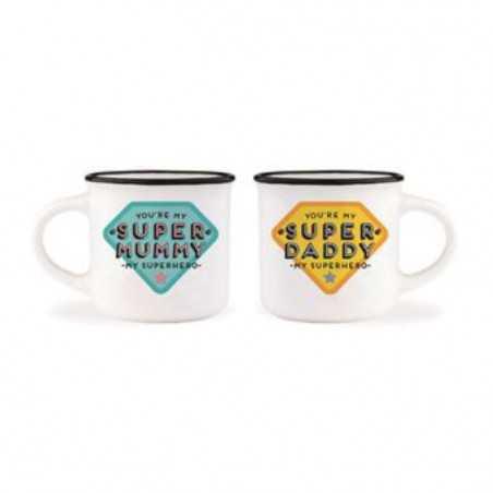 ESPRESSO PER 2 tazzine 2 TAZZE da caffè SUPER MUMMY E DADDY porcellana 50ML bone china LEGAMI