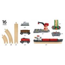 FERROVIA CON PORTO in legno treni BRIO 33061 trenino Cargo harbour set