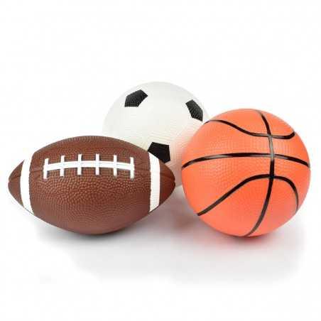 MINI BALL SET 3 palloni LEGAMI vintage memories RUGBY BASKET CALCIO palle MORBIDE sport