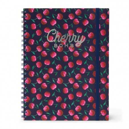 TACCUINO A4 SPIRALATO 3 in 1 Cherry Bomb cm 29,5x22 maxi 204 pagine
