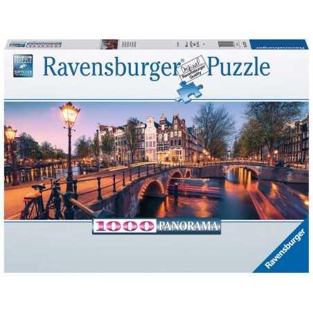 PUZZLE ravensburger UNA SERA AD AMSTERDAM panorama 1000 PEZZI 98 x 37,5 cm