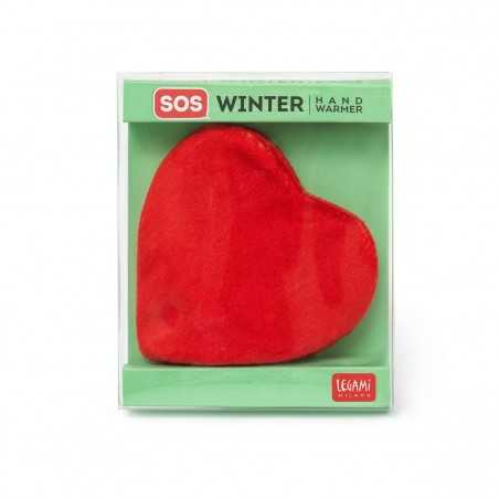 SCALDAMANI A FORMA DI CUORE sos winter HAND WARMER legami milano MORBIDO rosso