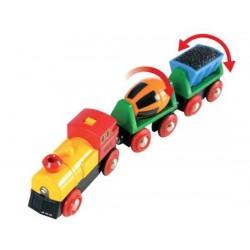 TRENO CON VAGONI BASCULANTI in legno treni BRIO TRENINO 33319 battery operated