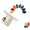 CRAYON ROCKS pastelli a cera SET DI 8 COLORI con sacchetto in cotone CERA DI SOIA età 3+