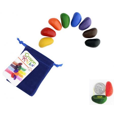 CRAYON ROCKS pastelli a cera SET DI 8 COLORI con sacchetto in velluto blu CERA DI SOIA età 3+