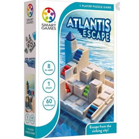 ATLANTIS ESCAPE gioco solitario 60 ROMPICAPO sfide di logica SMART GAMES età 8+