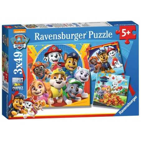 PAW PATROL ravensburger 3 PUZZLE originali da 49 PEZZI nickelodeon 21 X 21 CM età 5+