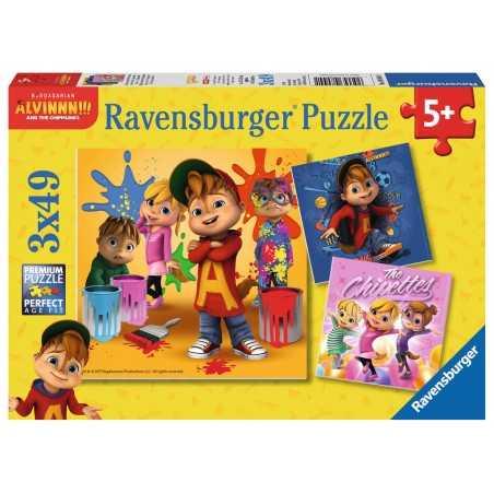 ALVIN SUPERSTAR E I CHIPMUNKS ravensburger 3 PUZZLE originali da 49 PEZZI con mini poster 21 X 21 CM età 5+