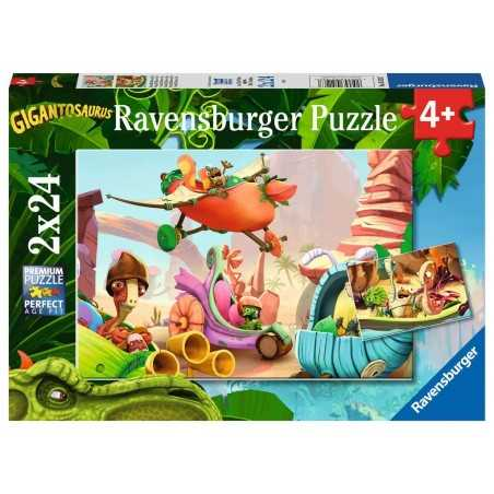 ROCKY BILL MAZU E TINY ravensburger 2 PUZZLE originali da 24 PEZZI gigantosaurus 26 X 18 CM età 4+