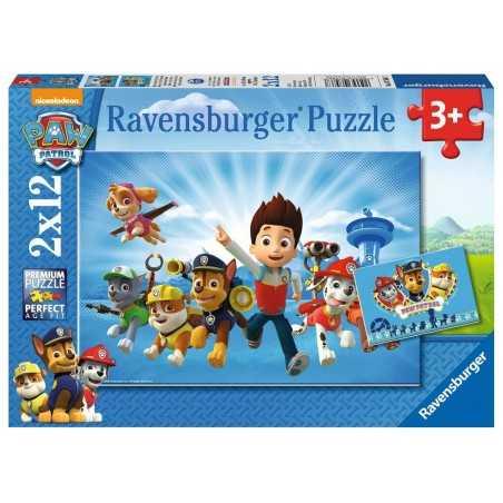 RYDER E PAW PATROL ravensburger 2 PUZZLE originali da 12 PEZZI con mini poster 26 X 18 CM età 3+