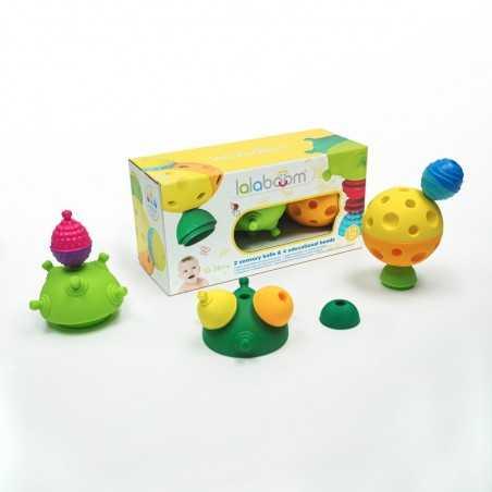 PALLE SENSORIALI gioco LALABOOM in plastica speciale 4 INCASTRI 2 PALLINE attività SET età 10 mesi +
