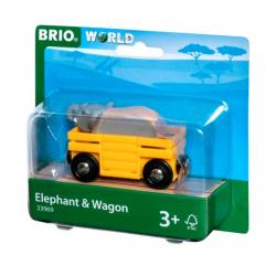 VAGONE CON ELEFANTE trenino BRIO treno 33969 ferrovia ELEPHANT & WAGON età 3+ BRIO - 2