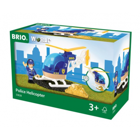 ELICOTTERO DELLA POLIZIA trenino BRIO treno 33828 ferrovia POLICE HELICOPTER età 3+ BRIO - 1