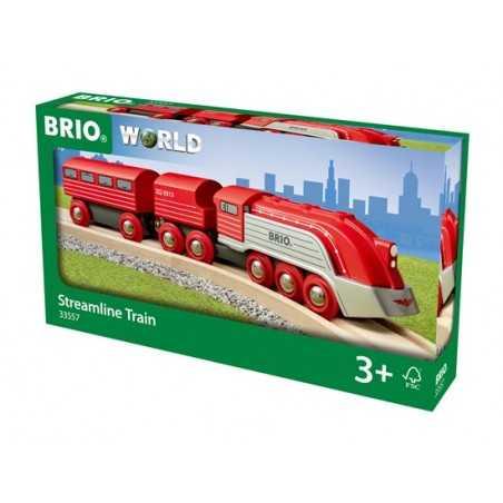 TRENO AERODINAMICO trenino BRIO rosso e argento 33557 locomotiva STREAMLINE età 3+ BRIO - 1