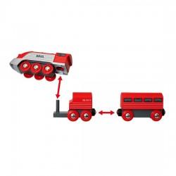 TRENO AERODINAMICO trenino BRIO rosso e argento 33557 locomotiva STREAMLINE età 3+ BRIO - 3