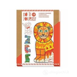 PUZZLE DA COLORARE do it yourself ANIMALCOLOR animali DJECO DJ07946 set di 4 tavole KIT ARTISTICO età 4+ Djeco - 1