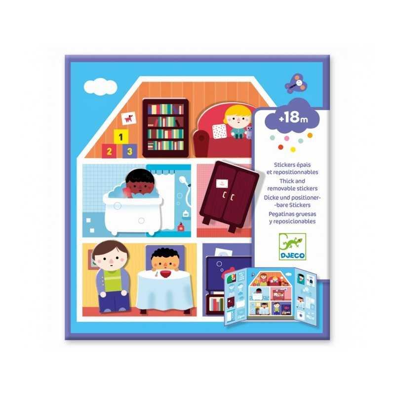 CREA CON ADESIVI SPESSI kit artistico CASA stickers riposizionabili DJECO gioco DJ09072 età 18 mesi + Djeco - 1