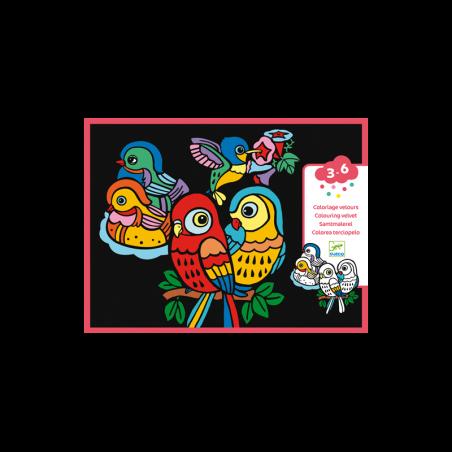 COLORARE CON IL VELLUTO kit artistico UCCELLINI creativo DJECO DJ09099 età 3+ Djeco - 1