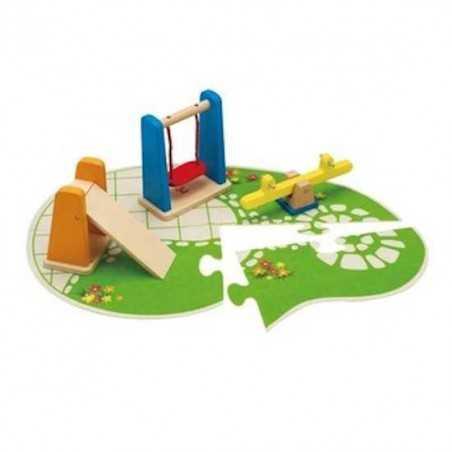 PARCO GIOCHI in legno accessorio casa delle bambole HAPE Happy Family Playground
