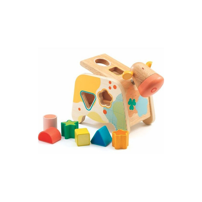 CACHATOU gioco in legno INCASTRI mucca FORME contenitore DJECO DJ06309 età 18 mesi + Djeco - 1