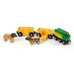 TRENO DELLA FATTORIA in legno treni BRIO trenino 33404 FARM TRAIN