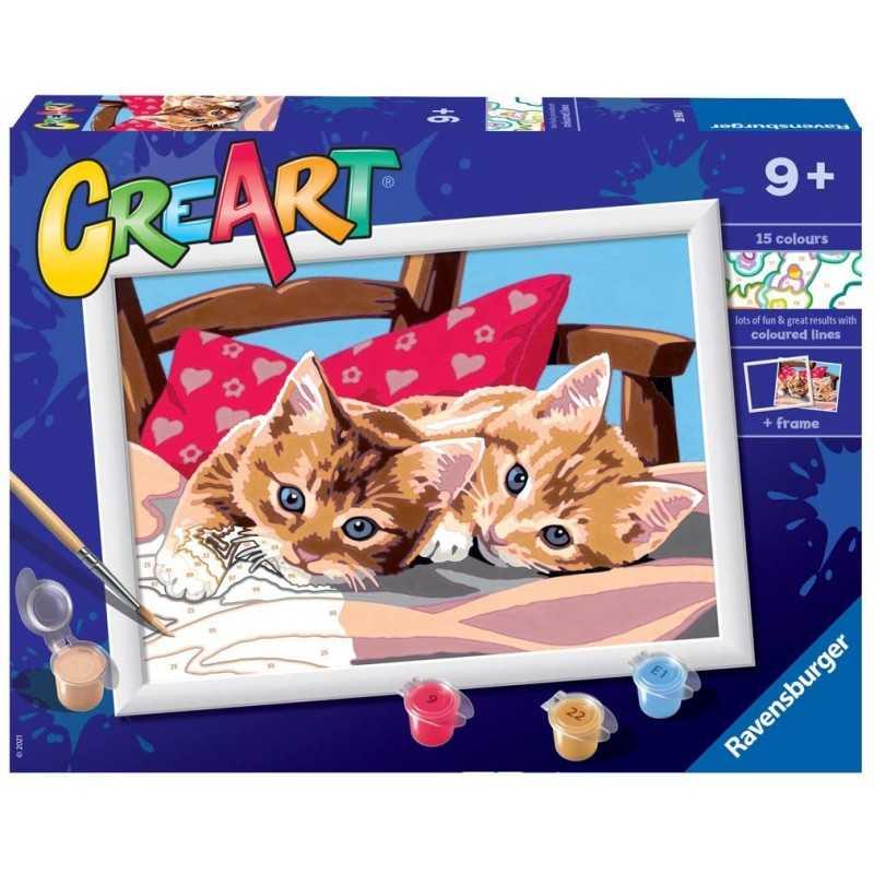 GATTINI kit artistico CREART ravensburger 15 COLORI con cornice TWO CUDDLY CATS età 9+ Ravensburger - 1