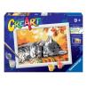 GATTINI kit artistico CREART ravensburger 10 COLORI con cornice AUTUMN KITTIES età 9+ Ravensburger - 1