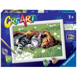 CANE E GATTO kit artistico CREART ravensburger 10 COLORI con cornice SLEEPING CAT AND DOG età 7+ Ravensburger - 1