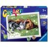 CANE E GATTO kit artistico CREART ravensburger 10 COLORI con cornice SLEEPING CAT AND DOG età 7+ Ravensburger - 1