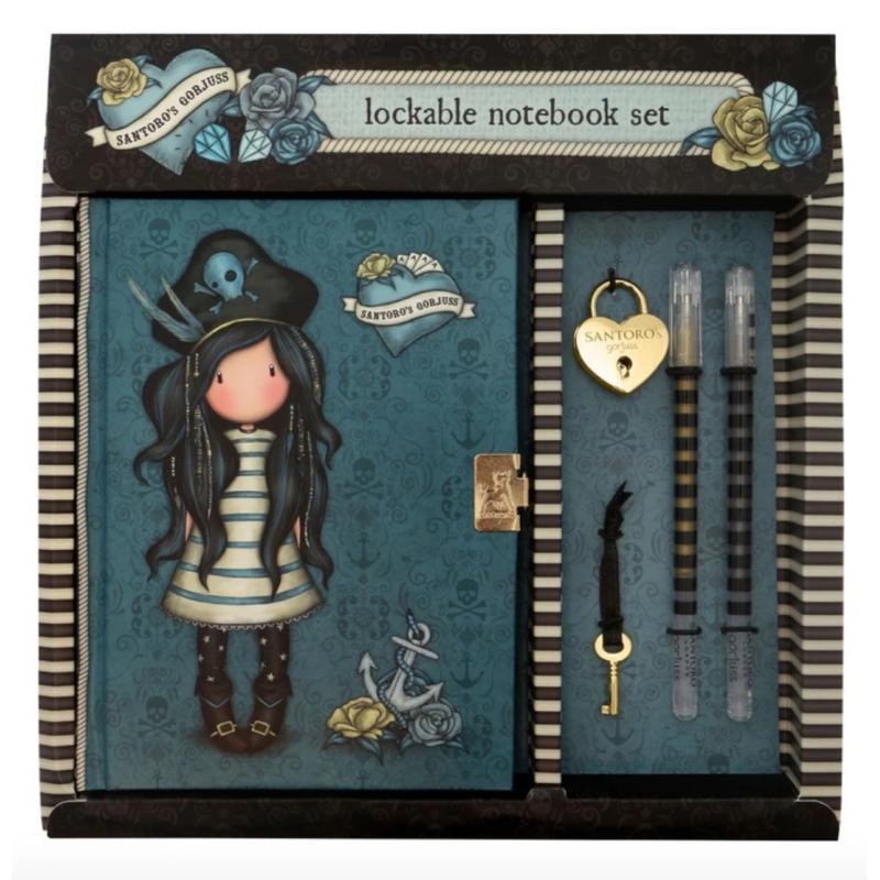 DIARIO SEGRETO lockable journal SET con accessori BLACK PEARL gorjuss BLU santoro 522GJ07 Gorjuss - 2