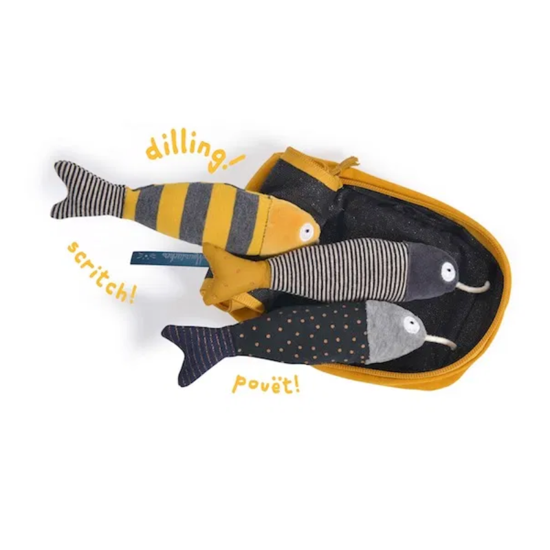 SET LUDICO peluche SARDINE in scatola LES MOUSTACHES con zip MOULIN ROTY Moulin Roty - 1