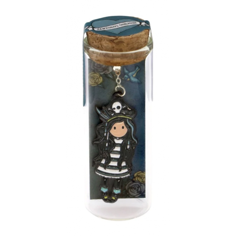 SEGNALIBRO IN METALLO metal bookmark in glass jar BLACK PEARL gorjuss BLU santoro 1061GJ01 Gorjuss - 1