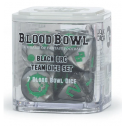 BLACK ORC TEAM DICE SET 7 dadi BLOOD BOWL warhammer SCATOLA TRASPARENTE Games Workshop - 1