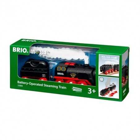 TRENO A BATTERIA locomotiva VAPORE FREDDO trenino BRIO 33884 steaming train WORLD età 3+ BRIO - 1
