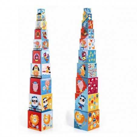 10 CUBI set di cubotti DJECO in cartone robusto SPIAGGIA impilabili DJ08509 età 12 mesi + Djeco - 1